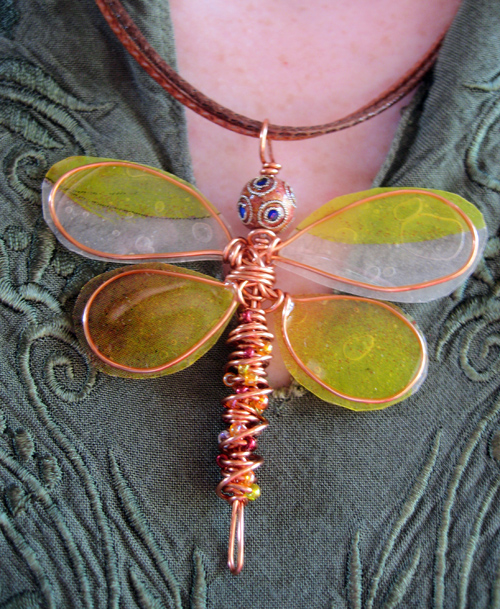 Dragonfly Necklace Ice Resin Paper And Wire