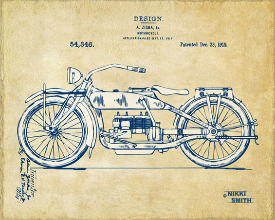 Copyright Nikki Smith; Vintage Harley-Davidson Motorcycle 1919 Patent Artwork (Fine Art Prints Available)