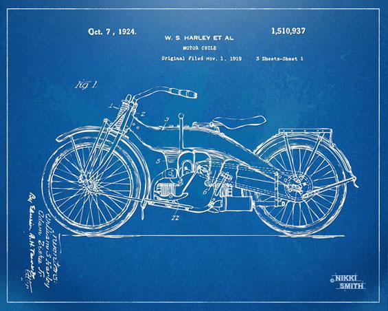 Copyright Nikki Smith; 1924 Harley-Davidson Patent Artwork (Fine Art Prints Available)