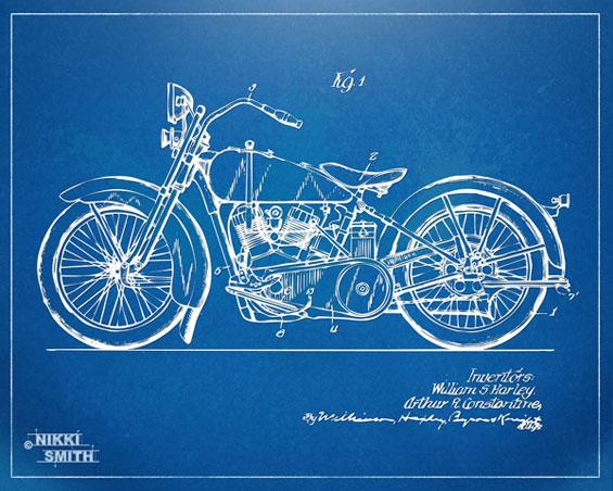 Copyright Nikki Smith; 1928 Harley-Davidson Patent Artwork (Fine Art Prints Available)
