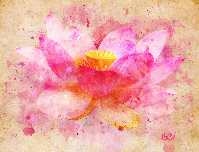 Pink Lotus Flower Abstract Artwork, copyright Nikki Smith; fine art prints available.