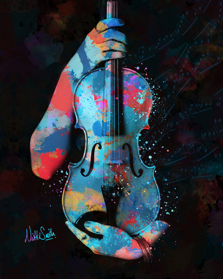 My Violin Whispers Music in the Night by Nikki Smith