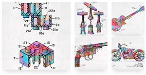 Colorful patent artwork collection