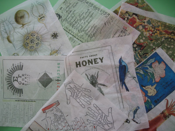 Some of the tissue papers I printed for my papercloth project