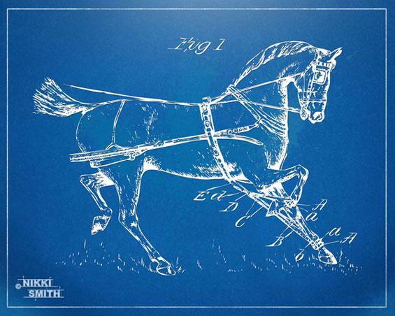 Copyright Nikki Smith - 1900 Horse Patent Artwork (Fine Art Prints Available)