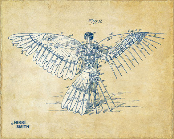 Copyright Nikki Smith; Icarus Human Flight Patent Artwork (Fine Art Prints in Vintage and Blueprint Styles available)