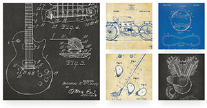 Patents and blueprints art collection